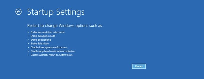 Startup Settings in Windows Recovery