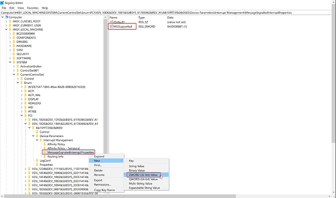 Enabling MSI on an Nvidia GPU in Windows: Adding MSISupported DWORD