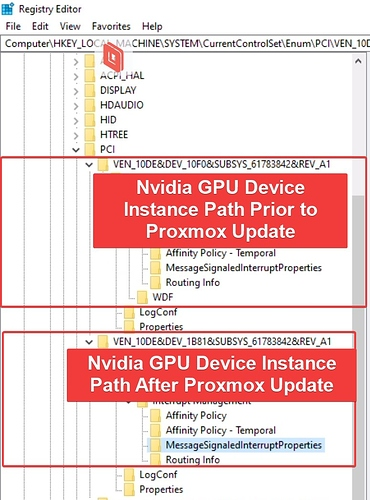 Nvidia GPU Device Instance Path Changed After Upgrade
